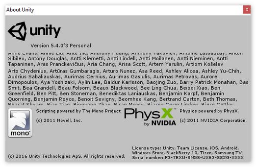Информация о Unity3D