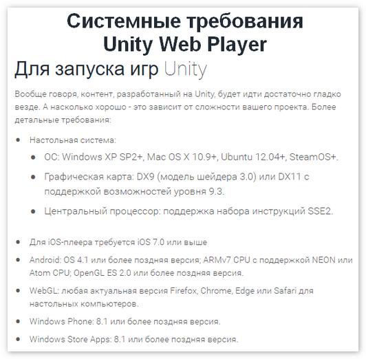 Системные требования Unity