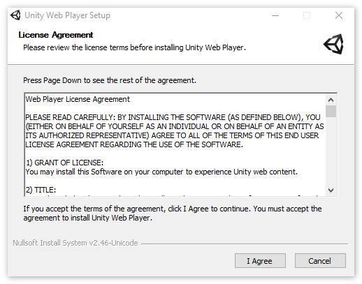 Английский язык в инсталляторе Unity Web Player